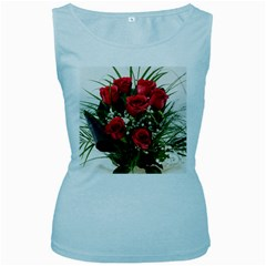 Red Roses Roses Red Flower Love Women s Baby Blue Tank Top