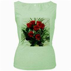 Red Roses Roses Red Flower Love Women s Green Tank Top