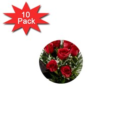 Red Roses Roses Red Flower Love 1  Mini Buttons (10 Pack)