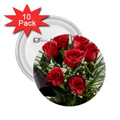 Red Roses Roses Red Flower Love 2 25  Buttons (10 Pack)