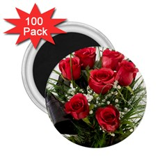 Red Roses Roses Red Flower Love 2 25  Magnets (100 Pack)