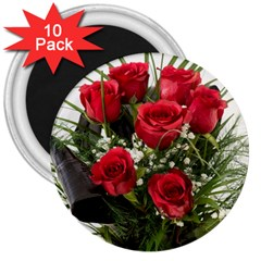 Red Roses Roses Red Flower Love 3  Magnets (10 Pack)