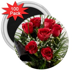 Red Roses Roses Red Flower Love 3  Magnets (100 Pack)