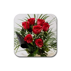 Red Roses Roses Red Flower Love Rubber Coaster (Square)