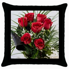 Red Roses Roses Red Flower Love Throw Pillow Case (black)