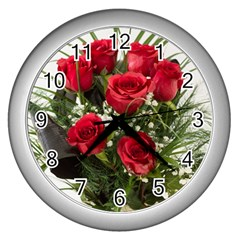 Red Roses Roses Red Flower Love Wall Clocks (silver)