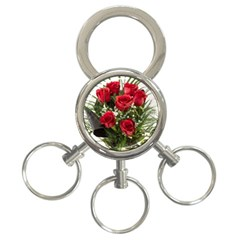 Red Roses Roses Red Flower Love 3 Ring Key Chains