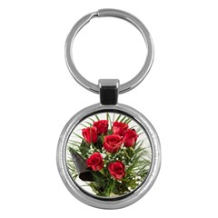 Red Roses Roses Red Flower Love Key Chains (Round)