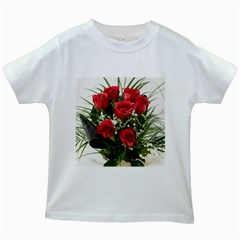 Red Roses Roses Red Flower Love Kids White T Shirts
