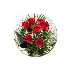 Red Roses Roses Red Flower Love Magnet 3  (round)