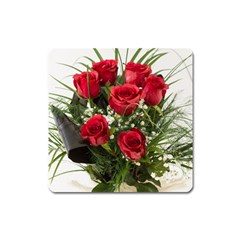 Red Roses Roses Red Flower Love Square Magnet