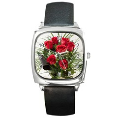 Red Roses Roses Red Flower Love Square Metal Watch