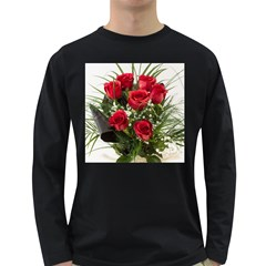 Red Roses Roses Red Flower Love Long Sleeve Dark T Shirts