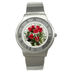 Red Roses Roses Red Flower Love Stainless Steel Watch