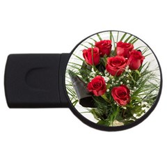 Red Roses Roses Red Flower Love Usb Flash Drive Round (4 Gb)