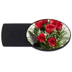 Red Roses Roses Red Flower Love USB Flash Drive Oval (4 GB)