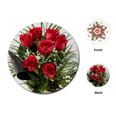 Red Roses Roses Red Flower Love Playing Cards (round)