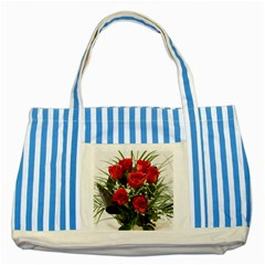 Red Roses Roses Red Flower Love Striped Blue Tote Bag