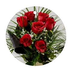Red Roses Roses Red Flower Love Round Ornament (two Sides)