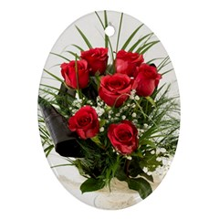 Red Roses Roses Red Flower Love Oval Ornament (two Sides)