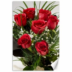 Red Roses Roses Red Flower Love Canvas 24  X 36
