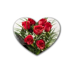 Red Roses Roses Red Flower Love Rubber Coaster (heart)