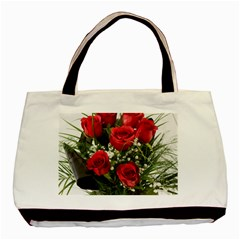 Red Roses Roses Red Flower Love Basic Tote Bag (two Sides)