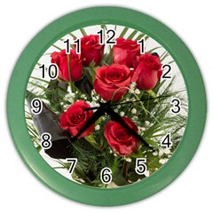 Red Roses Roses Red Flower Love Color Wall Clocks