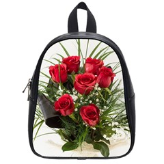 Red Roses Roses Red Flower Love School Bags (small)