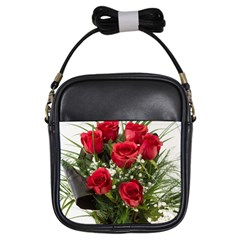 Red Roses Roses Red Flower Love Girls Sling Bags