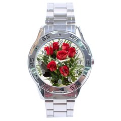 Red Roses Roses Red Flower Love Stainless Steel Analogue Watch