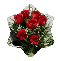 Red Roses Roses Red Flower Love Ornament (snowflake)