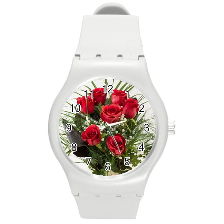 Red Roses Roses Red Flower Love Round Plastic Sport Watch (M)