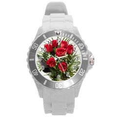 Red Roses Roses Red Flower Love Round Plastic Sport Watch (l)