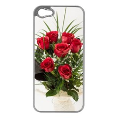 Red Roses Roses Red Flower Love Apple iPhone 5 Case (Silver)