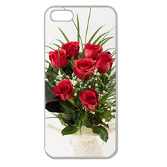Red Roses Roses Red Flower Love Apple Seamless Iphone 5 Case (clear)