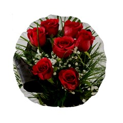 Red Roses Roses Red Flower Love Standard 15  Premium Round Cushions