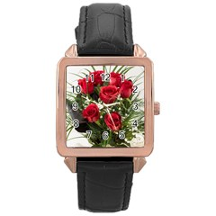 Red Roses Roses Red Flower Love Rose Gold Leather Watch