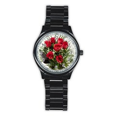 Red Roses Roses Red Flower Love Stainless Steel Round Watch