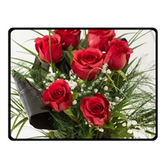 Red Roses Roses Red Flower Love Double Sided Fleece Blanket (small)