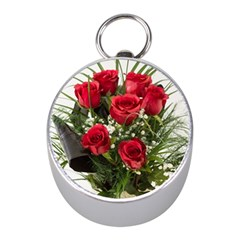 Red Roses Roses Red Flower Love Mini Silver Compasses