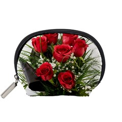 Red Roses Roses Red Flower Love Accessory Pouches (Small)