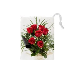 Red Roses Roses Red Flower Love Drawstring Pouches (small)