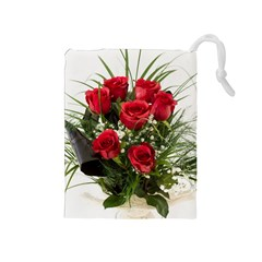 Red Roses Roses Red Flower Love Drawstring Pouches (medium)