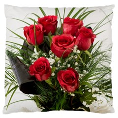 Red Roses Roses Red Flower Love Large Flano Cushion Case (one Side)