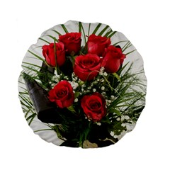 Red Roses Roses Red Flower Love Standard 15  Premium Flano Round Cushions