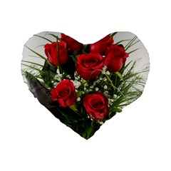 Red Roses Roses Red Flower Love Standard 16  Premium Flano Heart Shape Cushions