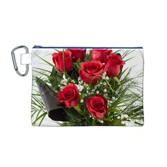 Red Roses Roses Red Flower Love Canvas Cosmetic Bag (m)