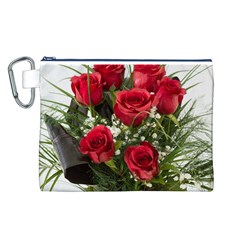 Red Roses Roses Red Flower Love Canvas Cosmetic Bag (L)