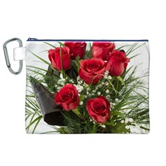Red Roses Roses Red Flower Love Canvas Cosmetic Bag (xl)
